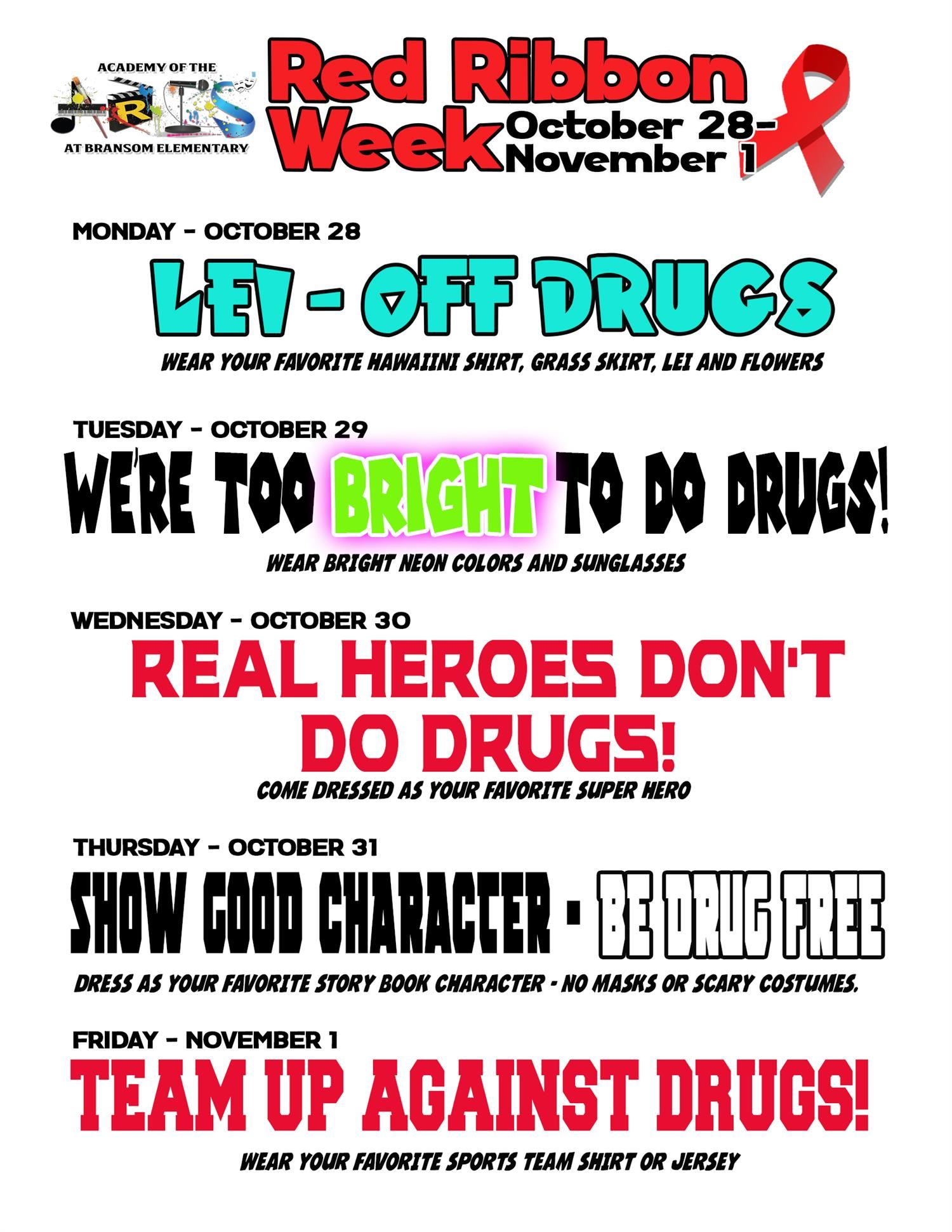 Red Ribbon instructions for the week