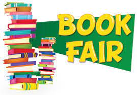stack of books with Book Fair on them