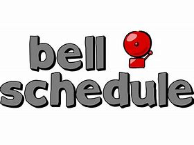 gray words that say bell schedule with a red bell