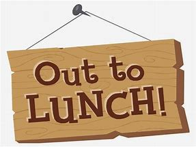 wooden hanging sign that says out to lunch