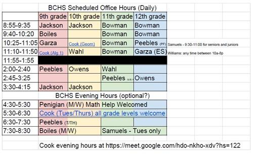 BCHS Scheduled Office Hours