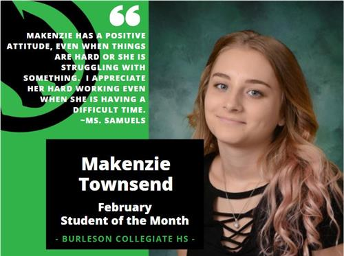 Makenzie Townsend - February Student of the Month