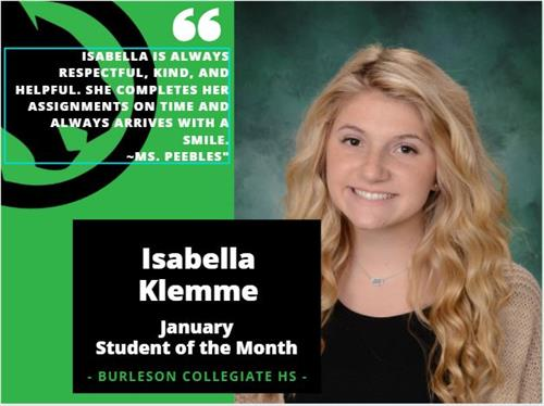 January Student of the Month - Isabella K.