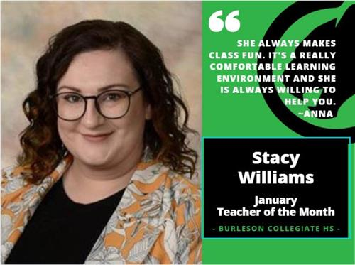 Stacy Williams - Teacher of the Month