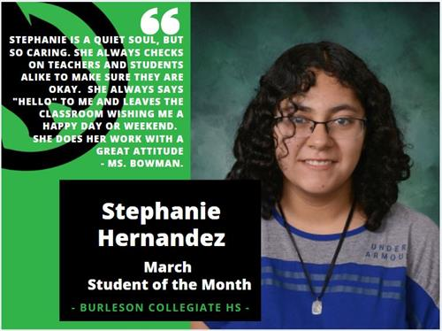 Stephanie Hernandez - March Student of the Month