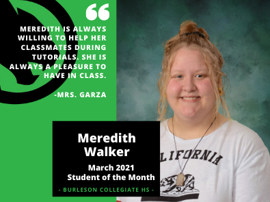 March 2021 Student of the Month Meredith Walker