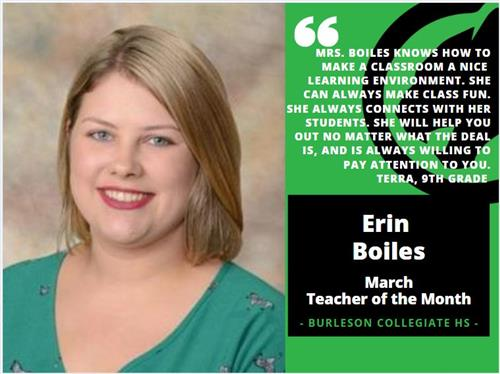 Erin Boiles - March Teacher of the Month