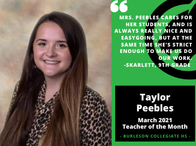 March 2021 Teacher of the Month Taylor Peebles