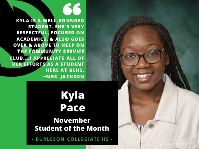 Kyla Pace - November Student of the Month
