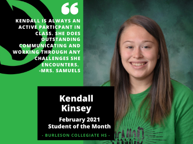 February Student of the Month Kendall Kinsey