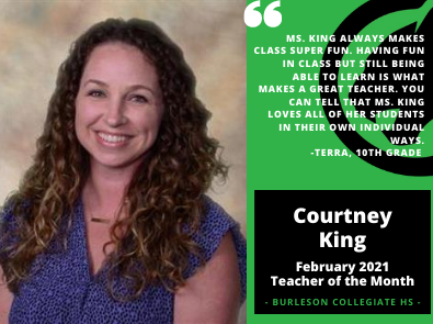 February Teacher of the Month Courtney King