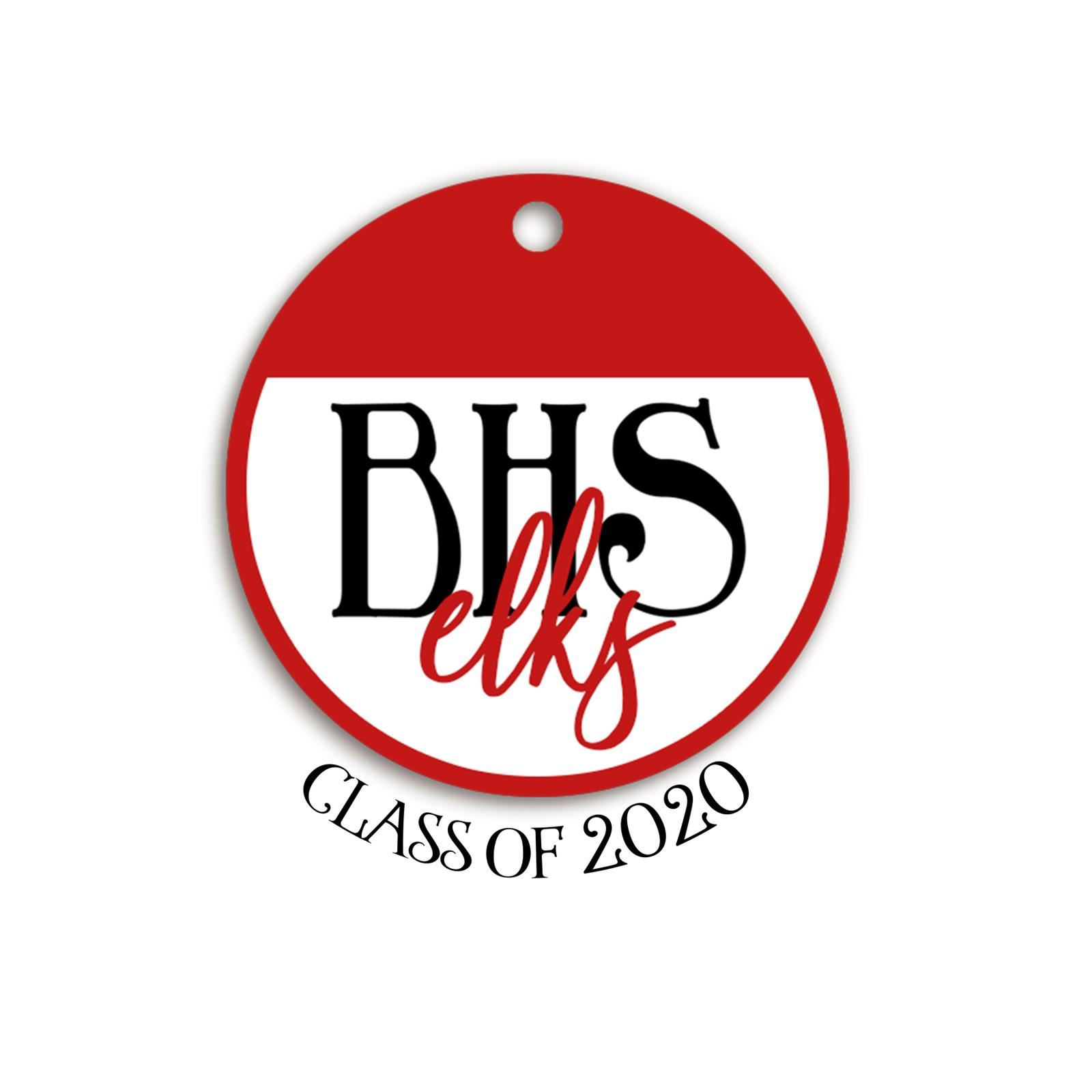 red & white tag text: bsh elks class of 2020