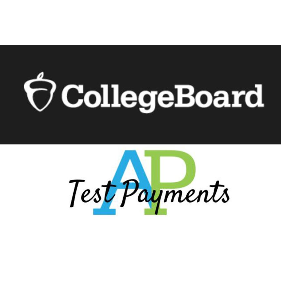 College Board Logo above text: (overlapping) AP test payments