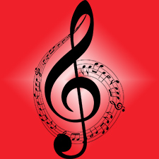 Decorative music notes with a red background