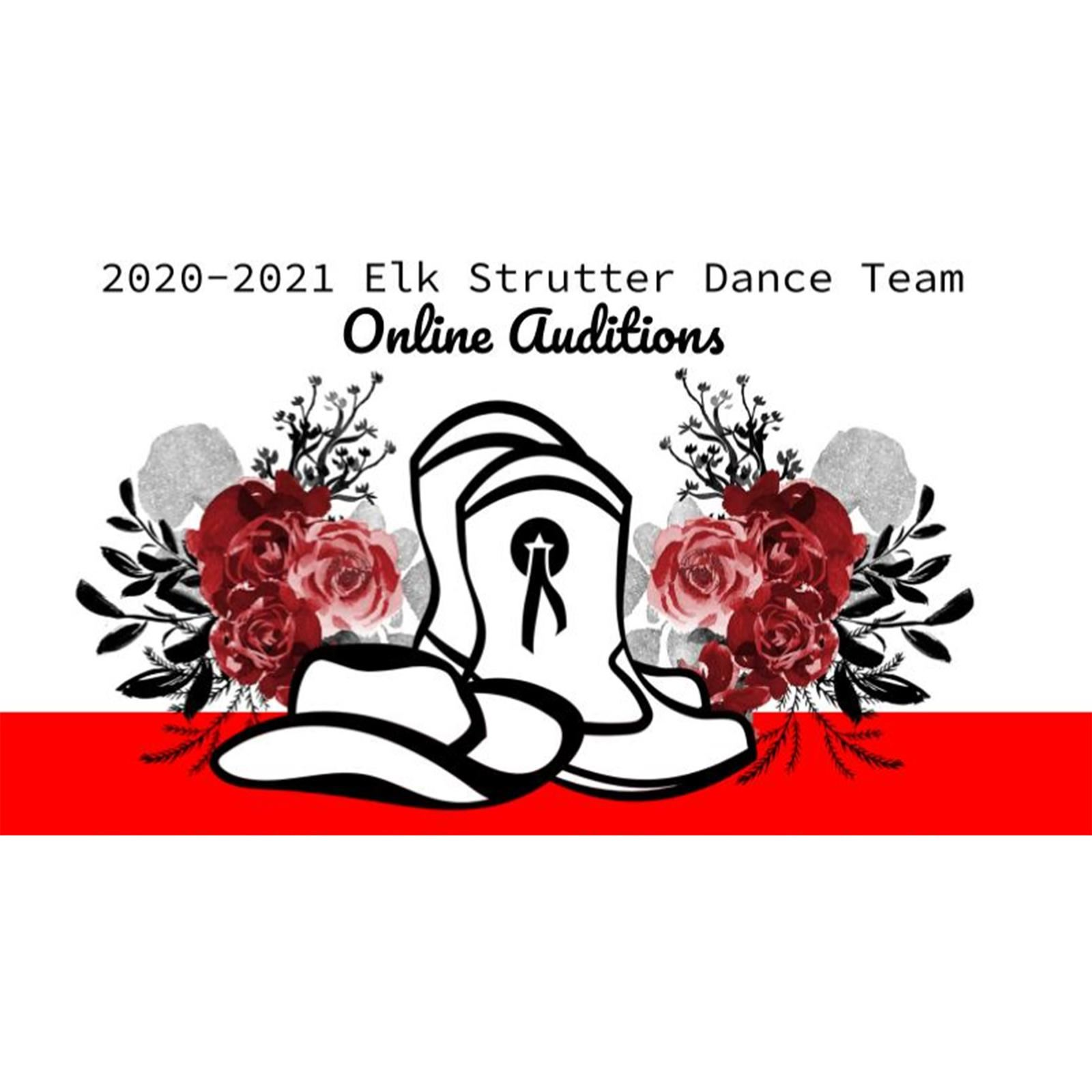 Boots and hat with flowers text: 2020-2021 Elk Strutters Online Tryouts