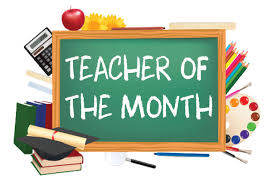 Teacher of the Month written on a chalk board with school supplies in the background