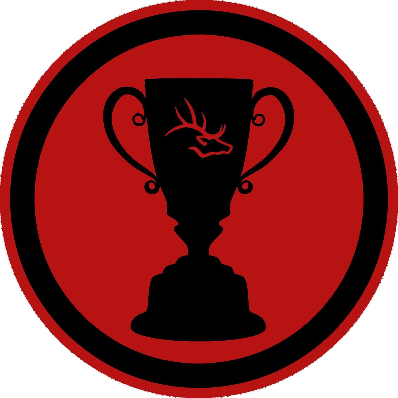 trophy with elk head on a red background