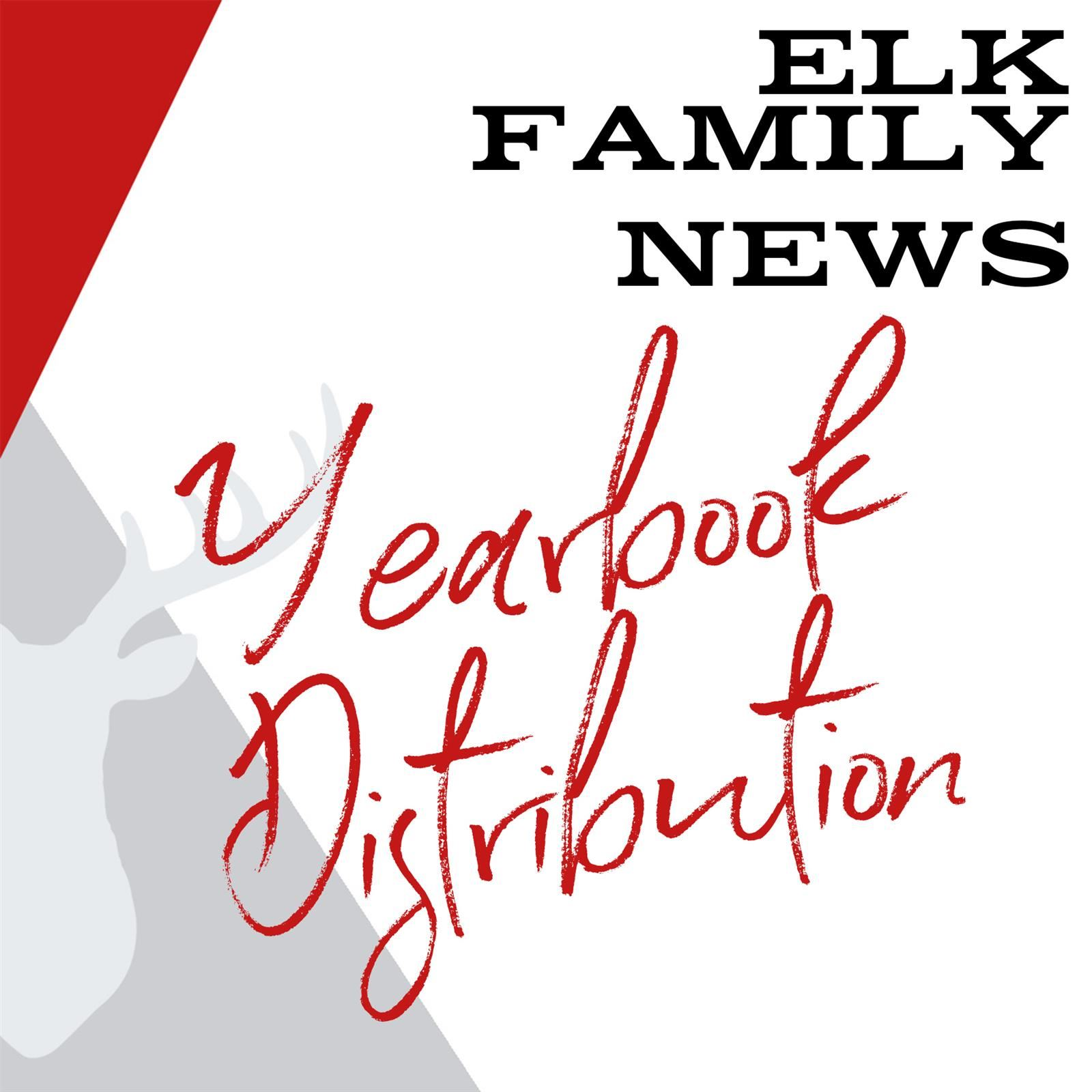 background: geometric shapes with elk Text: Elk Family News yearbook Distribution
