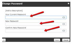 Change Password Text Boxes - Image with Arrows