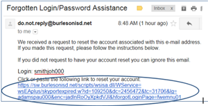 Image for text: Forgotten Login-Password Assistance - do.not.reply@burlesonisd.net Image
