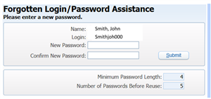 Image: Forgotten login-password assistance; Please enter a new password.