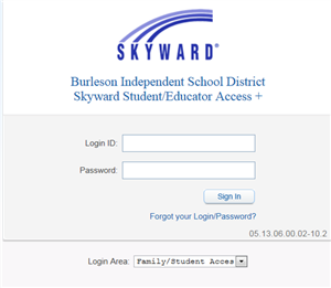 Image: Original Skyward Family Access Login Screen where you log in with a Login ID and Password