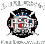 Burleson Fire Department logo black with silver lettering Duty Honor Trust Integrity ISO Class 1