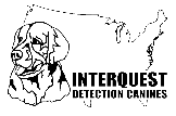 Interquest Detection Canines logo black outline of United States and face of dog