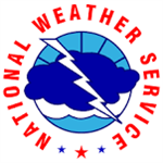 National Weather Service circular logo red lettering blue and white clouds with lighting image through center