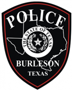 Burleson Police Department logo black badge white lettering Police Burleson Texas white outline State of Texas and State Seal