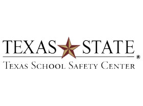 Texas State Texas School Safety Center black lettered logo with gold star in center
