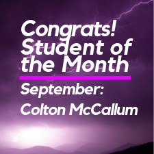 Student of the Month Colton McCallum