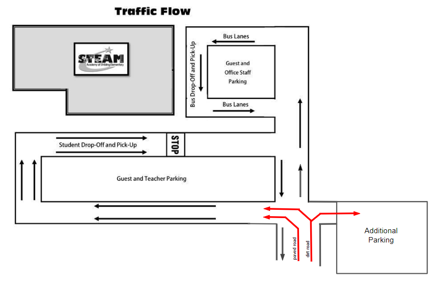 Traffic pattern for Stribling Elementary