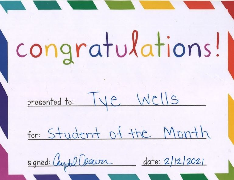 Student of the Month - Tye Wells