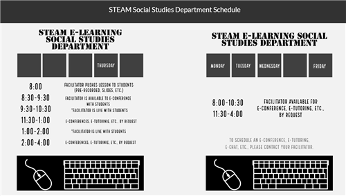 Social Studies e-Learning schedule
