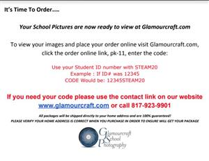School photos are now ready to order on Glamourcraft.com