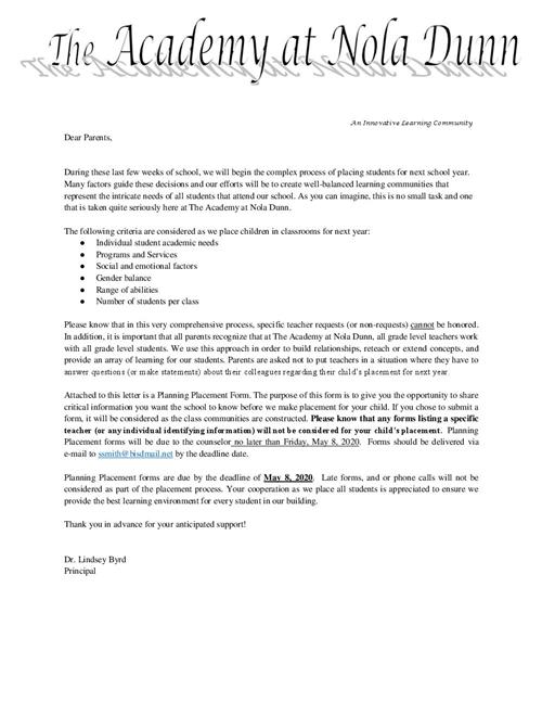 Planning Place Letter