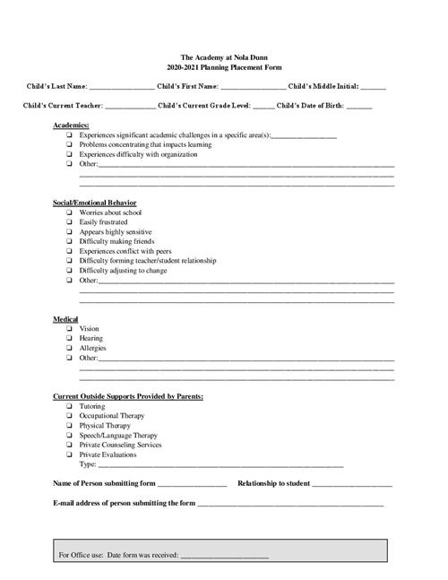 Planning Placement Form