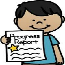 Boy holding progress report with a star on it.