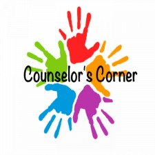 Counselor's corner with multicolored handprints