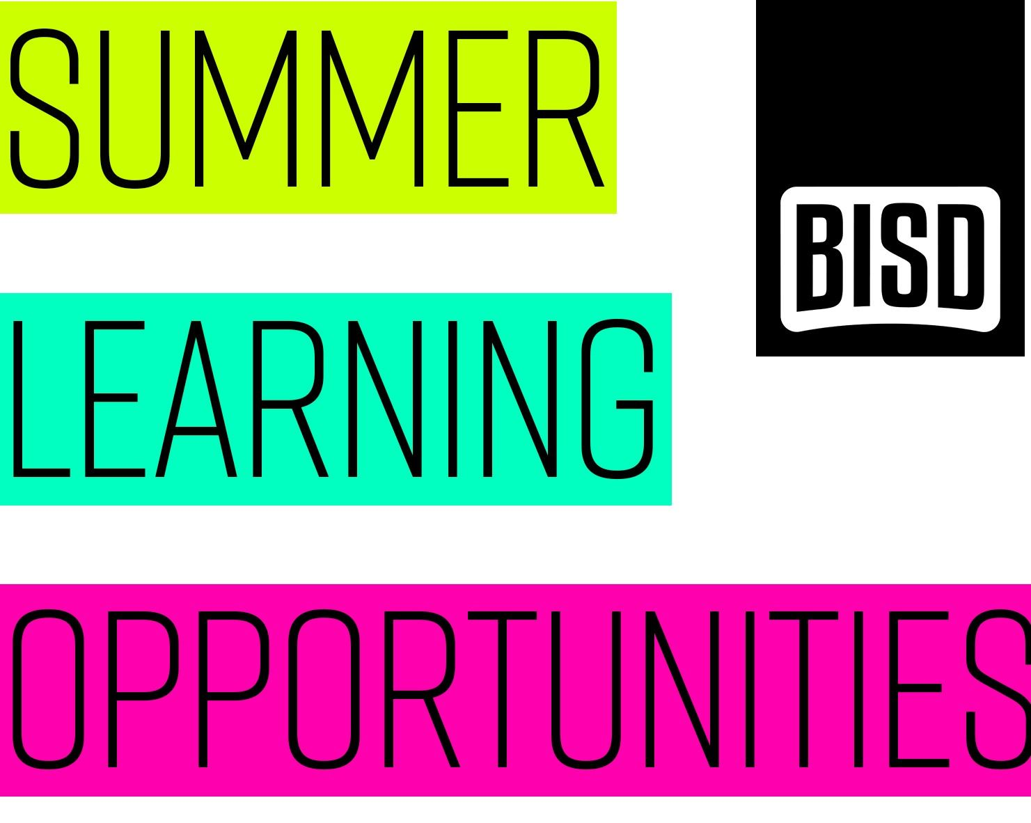 BISD Summer Learning Opportunities