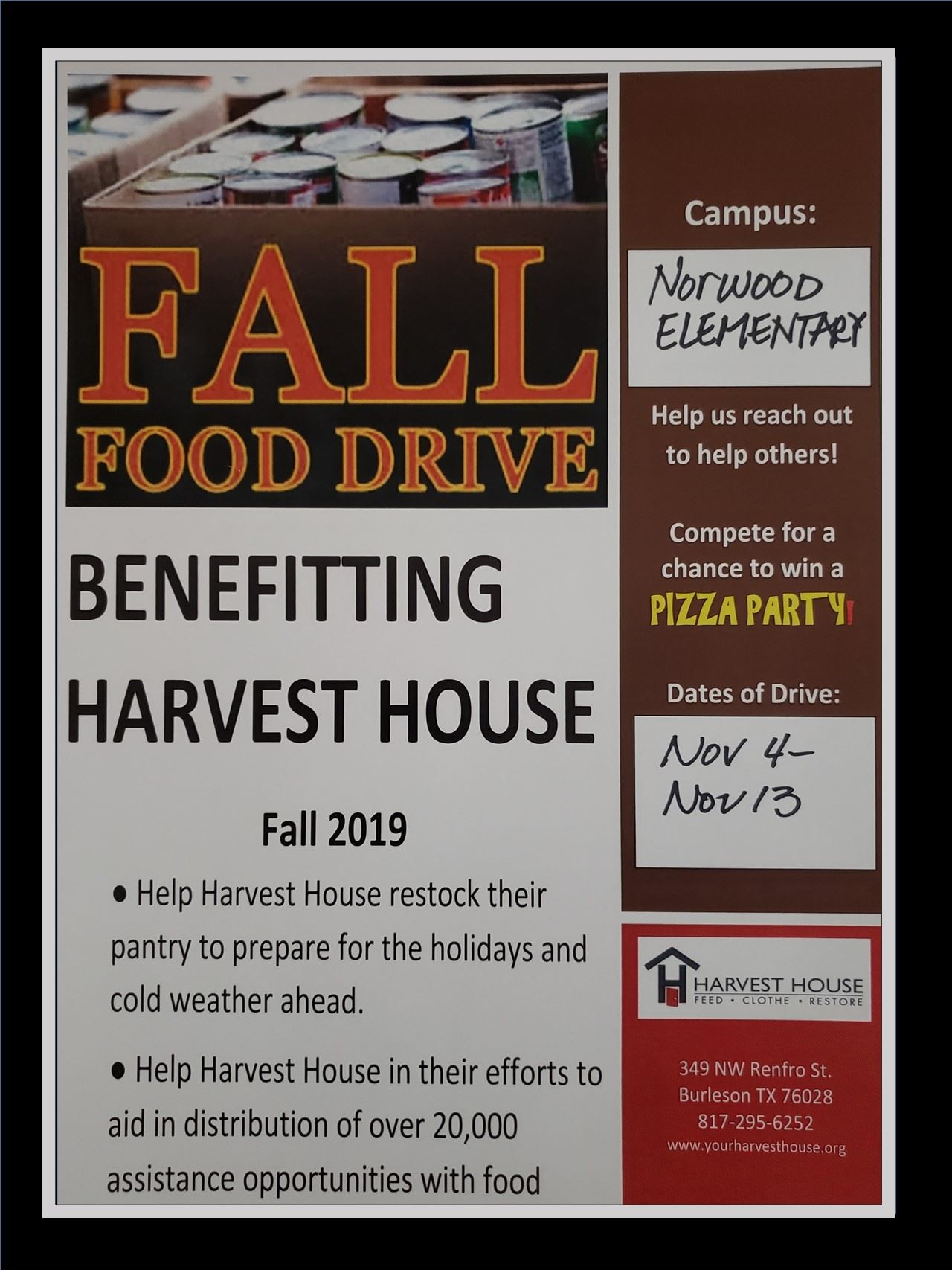 brown, red, orange fall food drive benefitting Harvest House