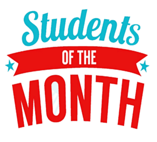 red, white blue students of the month