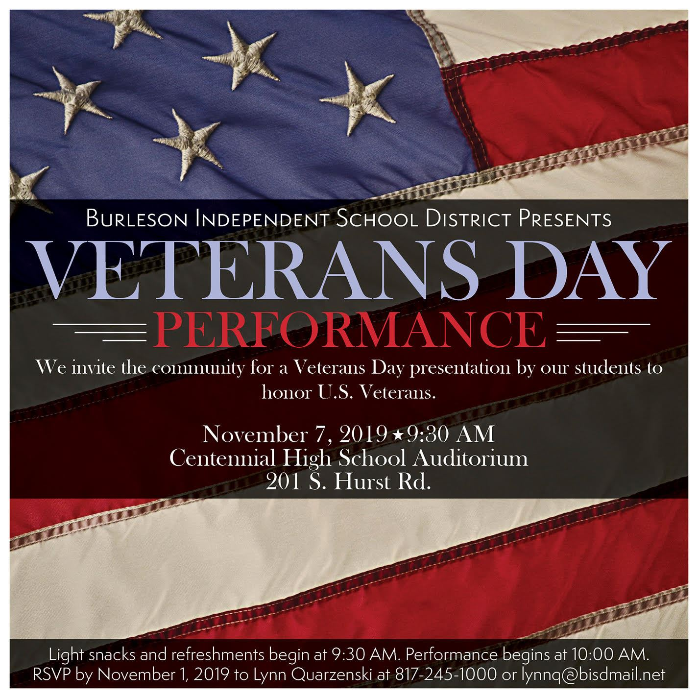 Veterans Day Performance, Thursday, November 7th
