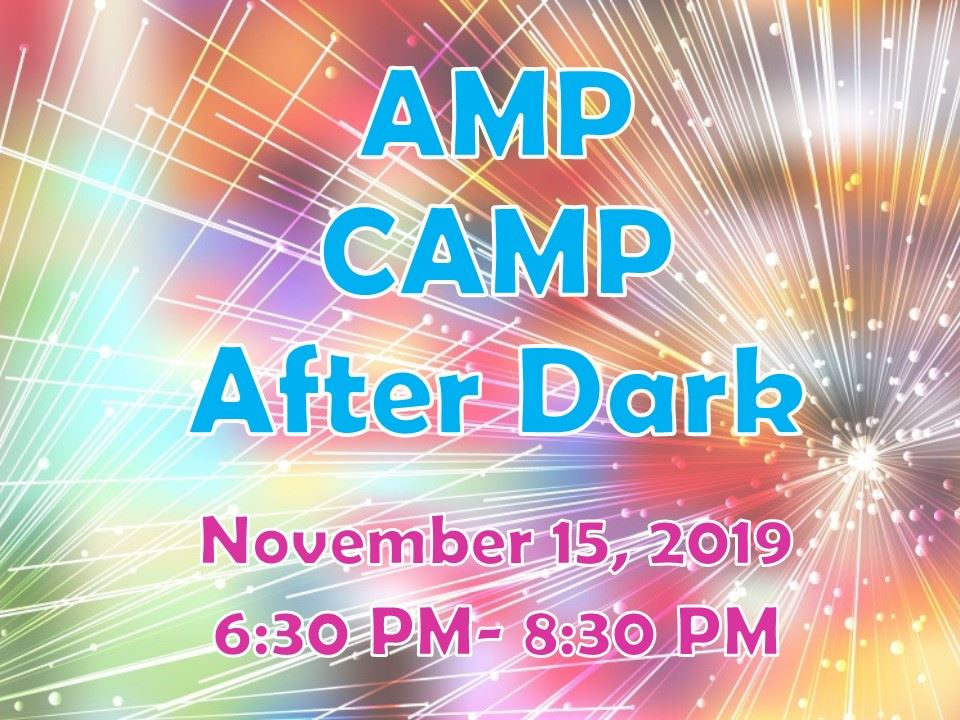 Bright colored background with Amp Camp After Dark words