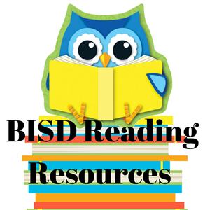 Cartoon owl sitting on top of a stack of books.  BISD Reading Resources