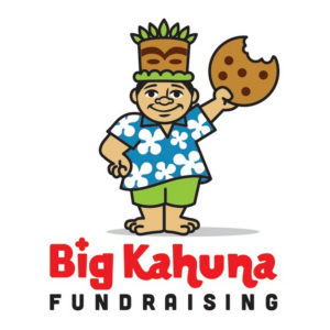 Cartoon man dressed in Hawaiian clothes holding a cookie