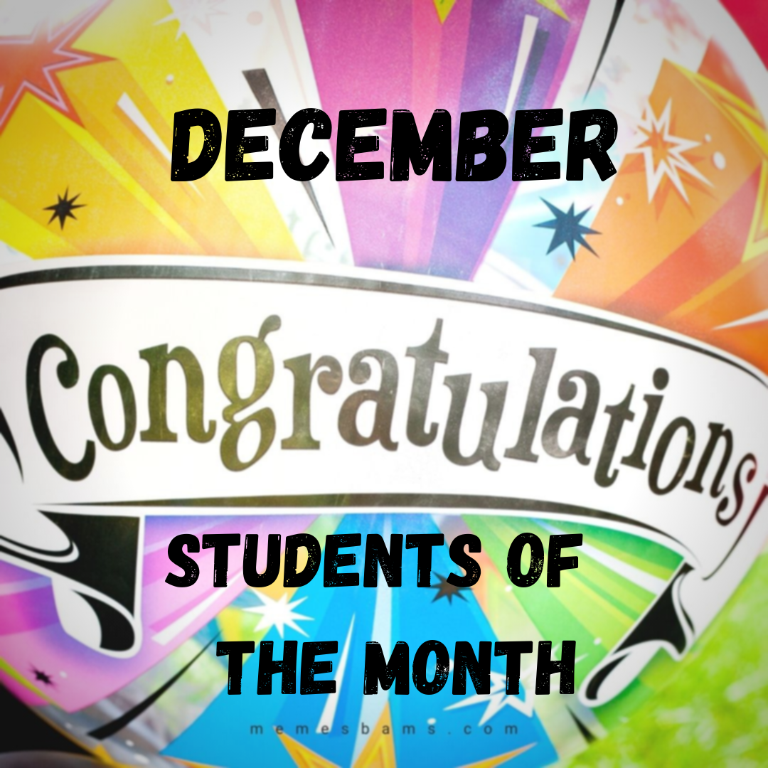 Students of the Month December with bright colors and balloons background