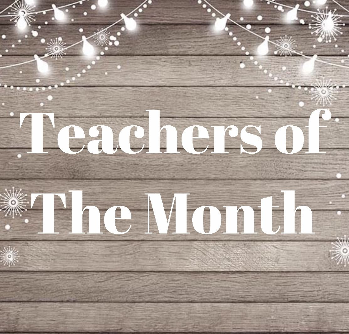 Wall background with twinkling lights and Teachers of the Month
