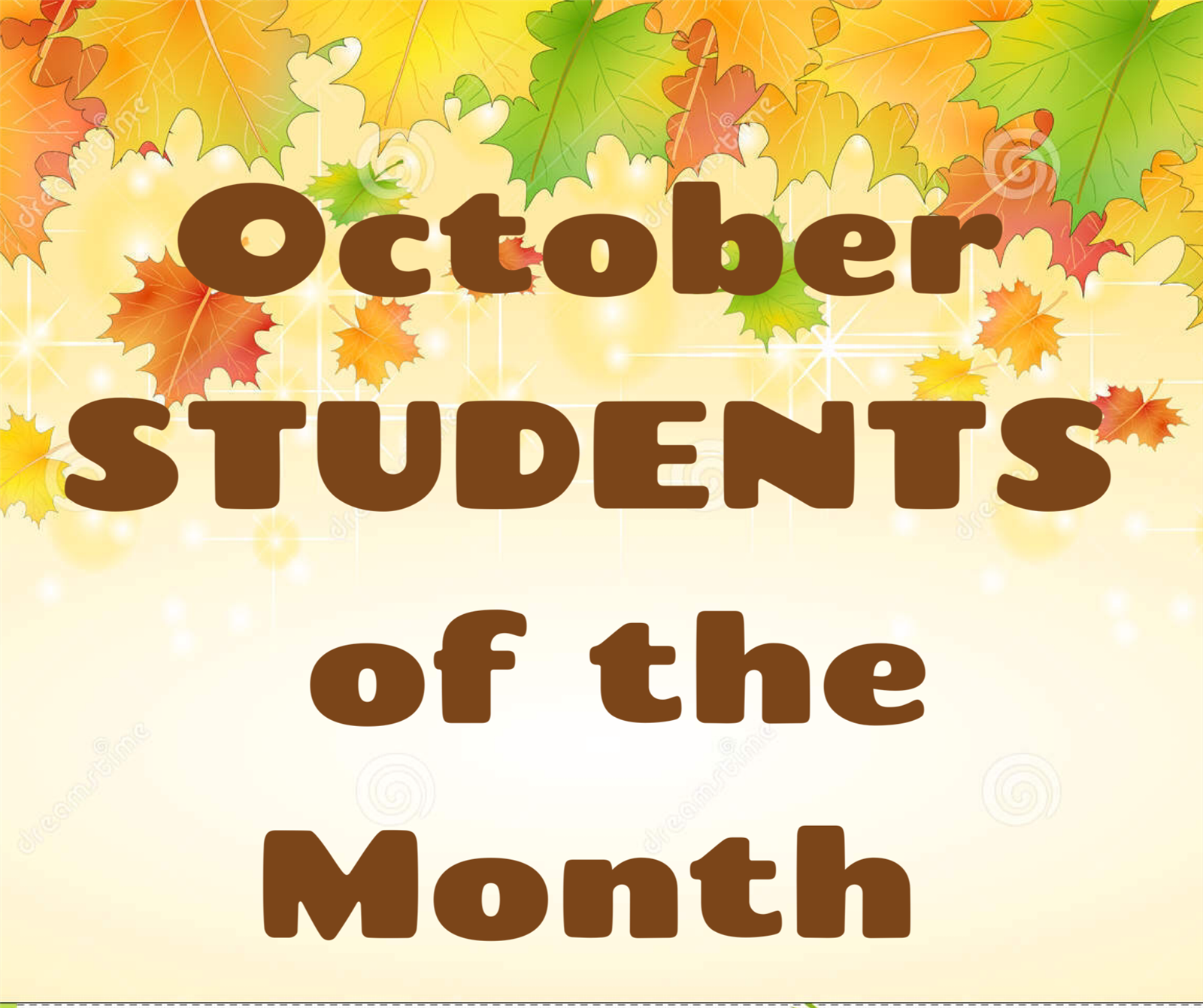 Fall leaf background with October Students of the Month in the middle
